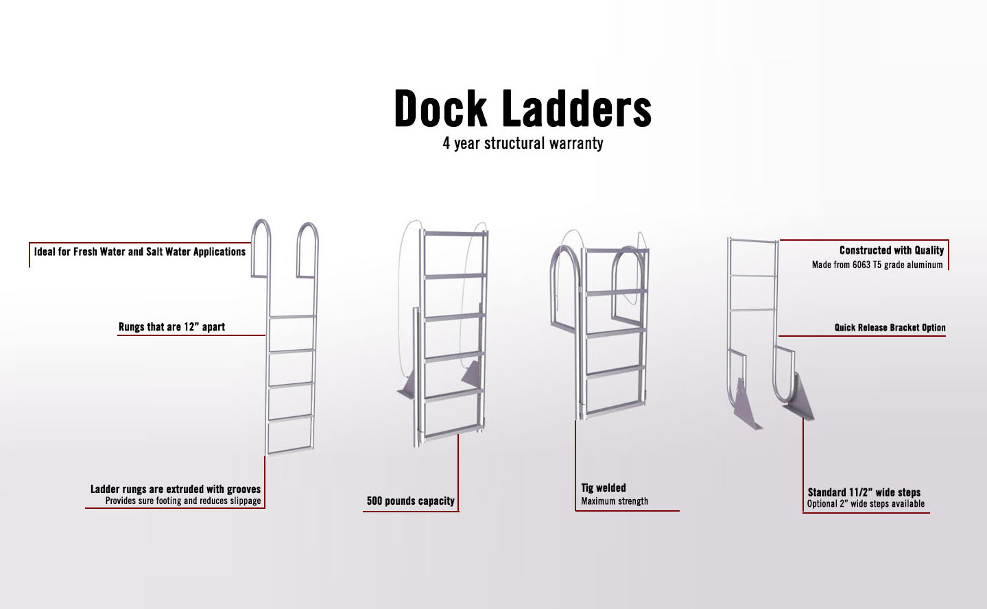 Aluminum Dock Ladder: Fixed & Retractable Aluminum Dock Ladders from Dock Boxes Unlimited